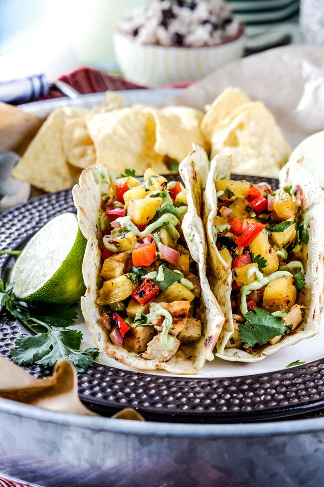Sunday: Chili Lime Chicken Tacos with Grilled Pineapple Salsa